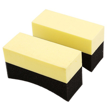 2x Contoured Auto Wheels Brush Sponge Tools Applicator Special For Tire Hub Cleaning Dressing Waxing Polishing Yellow+Black(China)