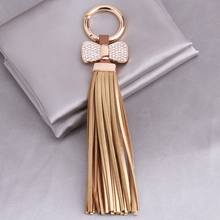 Luxurious Leather Tassels Bag Hanging With Bow Key Chains Alloy Key Ring Keychains Jewelry For Bags Car Phone Decoration 365010(China)