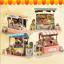 3D Paper house Puzzle for kids Funny 3D Puzzles DIY Children French Coffee Shop Pretend wood model Building Flower shop Jigsaw