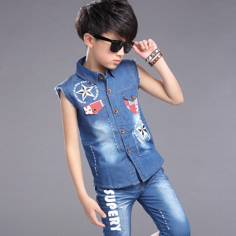 2016 New Summer Fashion Children Boy Colothes Sets Denim Vest Set Child Dress<br><br>Aliexpress
