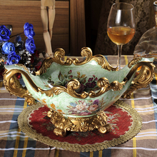 Continental retro Home Furnishing palace luxury garden decor fruit plate resin and set the table plate special offer(China)