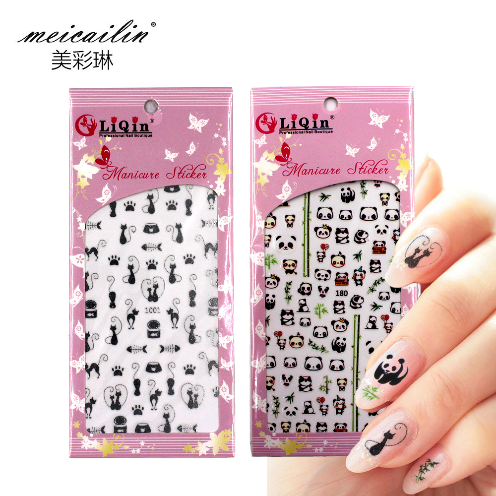 Meicailin 1 Sheet Embossed 3D Water Nail Stickers Decals Panda Flower Cat Digital Letter 3D Nail Art Decorations Fingernail(China)