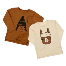 Boys Long Sleeve T-shirt Cartoon Alpaca Printed Toddler Girls Tops Tshirts Kids Tees Baby Clothes Tiny Cotton 2017 Autumn Winter
