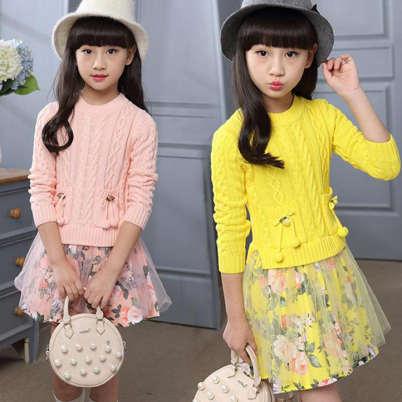 2017 Floral Printed Knitted Sweaters Dresses Autumn Winter Wear Baby Wear Clothes Girls Children Clothing Dress Child Costume<br>
