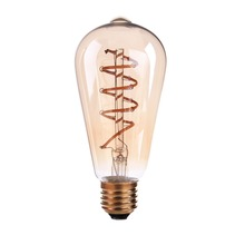 Spiral Filament LED,Edison ST64 Globe Bulb,3W,Amber Glass,Super warm 2200K,E26 E27 Base,Decorative Lights,Dimmable