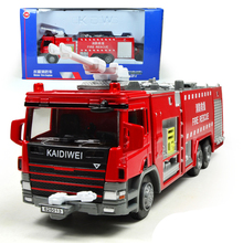 KAIDIWEI Engineering Vehicle 1:50 Scale Water Tender Fire Engine Truck Diecast Alloy Metal Flashing Pull Back Car Model Kids Toy