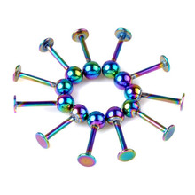 100pcs/lot 1.0*8*4mm Ball 18G Vacuum Plating Rainbow Tongue Bar Tongue Rings Barbell Stainless Steel Body Piercing Jewelry