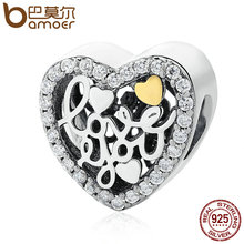 BAMOER Authentic 100% 925 Sterling Silver Love Script, Clear CZ Charms Fit Original Bracelet DIY Jewelry Accessories PSC068(China)