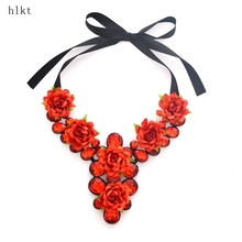 bright Acrylic accessories + cloth flower, super luxury fashion wedding, women necklace & pendant, gifts