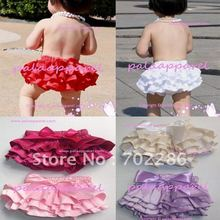 Wholesale mix red white pink color summer infant baby bloomers Ruffle Bottom Sassy Pants in summer wear(China)