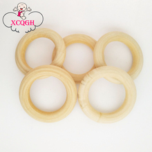 55MM 2.2Inch Wood Teething Beads Wooden Beads Baby Teether Ring DIY Pacifier Clip & Kids Jewelry & Toss Games 10PCs(China)