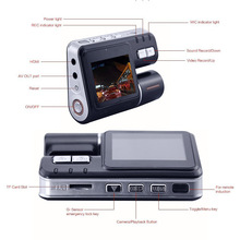 Luxurious Dual Lens Camcorder Auto Car DVR Camera HD 1080P Dash Cam Driving Recorder 120 Degrees Wide-angle 330 Degree Rotation