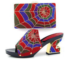 Popular Iatalian speacial heel design pumps shoes and handbag sets with colorful rhinestones TH16-02 red ,4 color