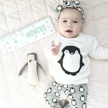 2017 autumn baby girl clothes sets infant 2pcs suit baby girl clothing cotton newborn t-shirt+pants penguin printed kids outfits(China)