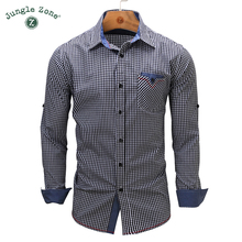 JUNGLE ZONE European size Men's shirt Long Sleeve Small lattice Shirts design Mens Dress Shirt Casual Denim Style Shirts 106(China)
