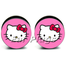 1 pair Pink Hello Kitty acrylic screw fit flesh tunnel ear plug gauges ear expander ASP0150