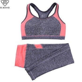 B. BANG Femmes Sport Yoga Ensembles pour Courir Gym Sportwear Sport Top Gym Push Up Bras Élastique Capris Remise En Forme Collants Costumes pour Femme