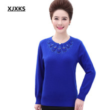 XJXKS Large Size Women Round Neck Sweaters Pullover Beading Decoation Long Sleeve Casual Women's Sweater 5 Colors(China)