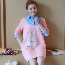 Cute Korean Japanese Style Pregnant Woman Tops Fake-2PCS Design Maternity Dress Clothes for Pregnant Woman Rabbit Girls Dresses(China)