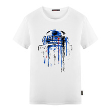 Star Wars Mens Summer New T Shirts R2D2 Inked Printed Style T Shirt Man Short Sleeved O Neck Cotton Tees Tops Mens Wear Clothing