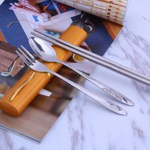 3Pcs Stainless Steel Portable Tableware Dinnerware Travel Camping Cutlery Set Fork poon Chopsticks Set Picnic Tool