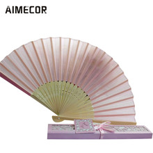 1PC Bridal Chinese Bamboo Silk Hand Fan Wedding Favors Guests Gifts Folding Fan Figurines u70628