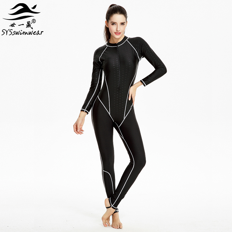 Hot New High Quality Zipper Long Sleeves Surfing Women One Pieces Swimwear Solid Snorkeling Swimsuit Hot Sport Bathing Suit<br>