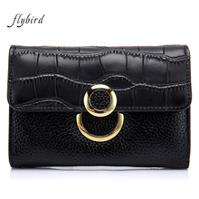 2017 New Genuine Leather Coin Purse Fashion Large Capacity Crocodile Pattern Women Cute Mini Wallet Female 4 Colors Card Holder(China)