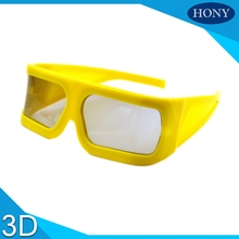 10pcs Wholesale Plastic Big Yellow Frame 0/90 degree,45/135 degree Big Lens Linear Polarized 3d Glasses For 3D,4D,5D Theater(China)