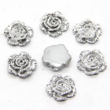 New 40pcs 11x11mm Silver Rose Flower Flatback Kawaii Flat Back Resin Cabochon DIY Craft Wedding Decoration Embellishment(China)