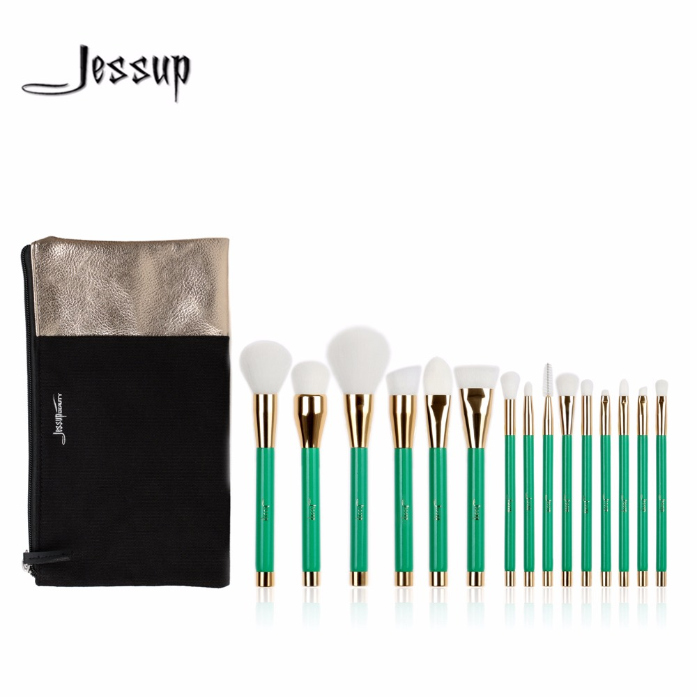 2017 New Jessup  15pcs Beauty Makeup Brushes Set Brush Tool Green and White Cosmetics Bags  T116&amp; CB002<br>