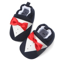 Baby Boys Girls First Walkers Butterfly-knot Cotton Baby Shoes Spring Autumn Gentleman Infant Newborn Kids Soft Soled Shoes 2017(China)