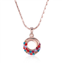 Round Pendant Colorful Crystal Rose Gold Color 18 inch Chain Necklace Top Quality Brand Jewelry Accessories Femme Collier Bijoux(China)