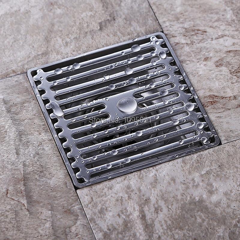 Deodorant 304 Stainless steel 4 inch square Floor Waste Grates Bathroom Shower Drain<br>