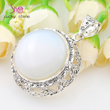 Free Shipping-2pcs/lot 925 Silver Jewelry Classic Moonstone Gems Pendant For Women Fashion Shiny Crystal Pendant Wholesale P1042