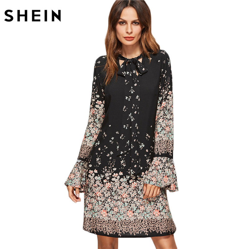 SHEIN Korean Women Clothing Floral Print Dresses Women Spring Black Tie Neck Long Flare Sleeve Casual A Line Dress(China)