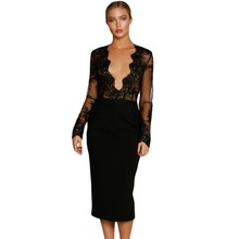 Autumn casual fashion classic women dresses splice lace top long sleeve midi dress black white deep v neck sexy club wear A61341