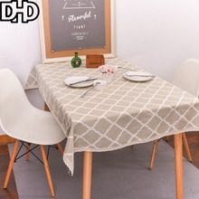 DHD Yellow Plaid Tablecloth Rectangular Cotton Linen Tea Table Cover for Home Table Cover for Outdoor Furniture Dustproof(China)