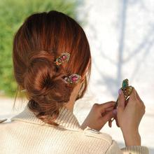 Popular Vintage Hair Stick Women Retro Crystal Hairpin Original Ethnic Jewelry Hair Stick Hair Clip Hair Accessories 2017