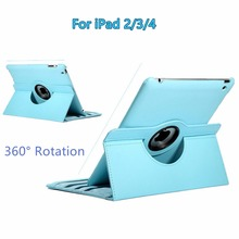 For Apple iPad 2/3/4 9.7 inch 360-Degree Rotating PU Leather Multi-angle Stand Folio Cover Case with Auto Sleep / Wake Feature