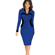 Women Elegant Patchwork Office Dres Skirt Fake Two Pieces Button Peter Pan Collar Long Sleeve Work Sheath Bodycon Dres Skirt