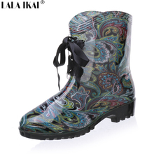 Brand Designer Women Rain Boots Waterproof Warter Boots for Woman Rain Shoes Lace Up Leather Boots Women Shoes XWN0039-5