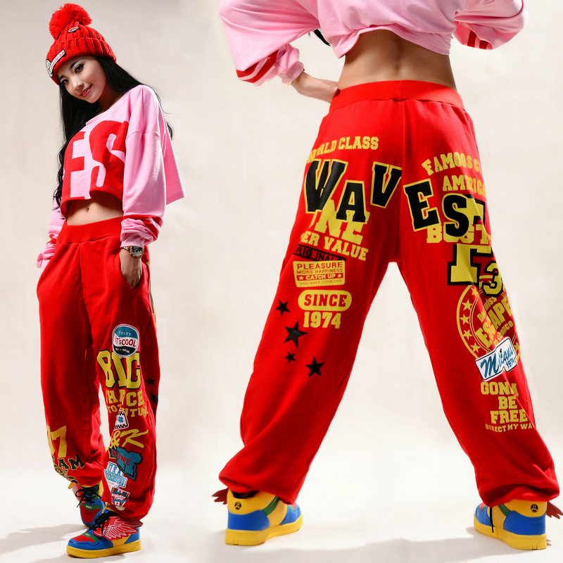 Adults Kids brand Adult Women Trousers wear sweatpants letter print ds costume female knitted  loose harem Hip hop dance pants