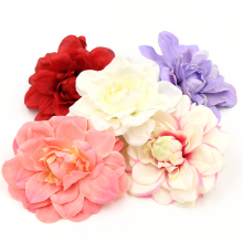 20PCS Dahlia Handmake Silk Artificial Flowers Head For Wedding Party Corsage Decoration DIY Scrapbooking Craft Fake Flowers(China)
