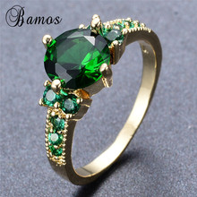 Bamos Gorgeous May Birthstone Rings For Women Fashion Round Green Cubic Zirconia Wedding Ring Yellow Gold Filled Jewelry RY0365