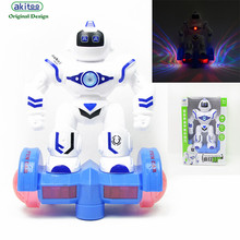 akitoo 1605 New Robot toy electric light and sound universal dancing robot crazy war early education childrens toys gift(China)