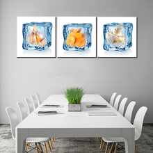 Beauty 3D mushroom and carrot painting 3 pieces printed on canvas oil painting for dinner room decor craft home decor bar pub(China)