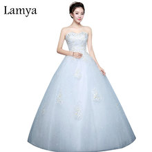 Lamya Famous Brand Embroidery Wedding Dresses Women Vintage Cheap Bridal Gown Ladies Sweetheart Cusomized vestidos de noiva(China)