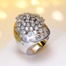 2018 new release wedding rings for women Hyperbole design Excellent quality anel de noivado zirconia jewelry Sparkling ring!(China)