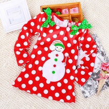 2017 Top Fashion Promotion Knee-length Full A-line Dot Cotton Regular Explosion, Long Sleeve Girl Dress, Bow Tie, Cartoon Dress